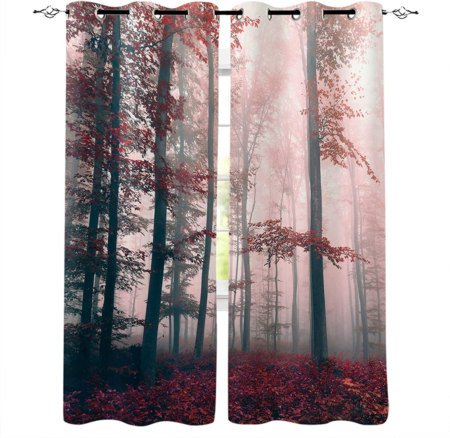 Window Curtains Free shipping Tropical Red Mystic Darkening Superior Panels Forest Room