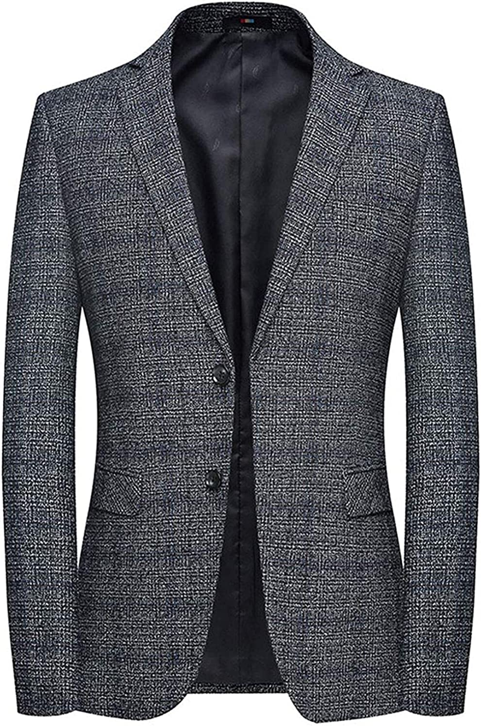 Men's Casual Slim Fit 2 Button Tweed Plaid Blazer Jacket Sport Coat