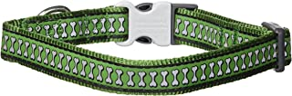 Red Dingo Reflective Green Dog Collar, Medium/Large/20mm
