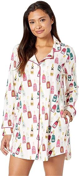 Long Sleeve Classic Notch Collar Nightshirt