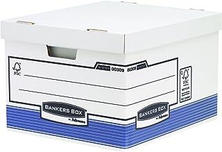 Fellowes 0030901 Grande caisse pour archives Banker Box System - Montage automatique - Bleu/Blanc (lot de 10)