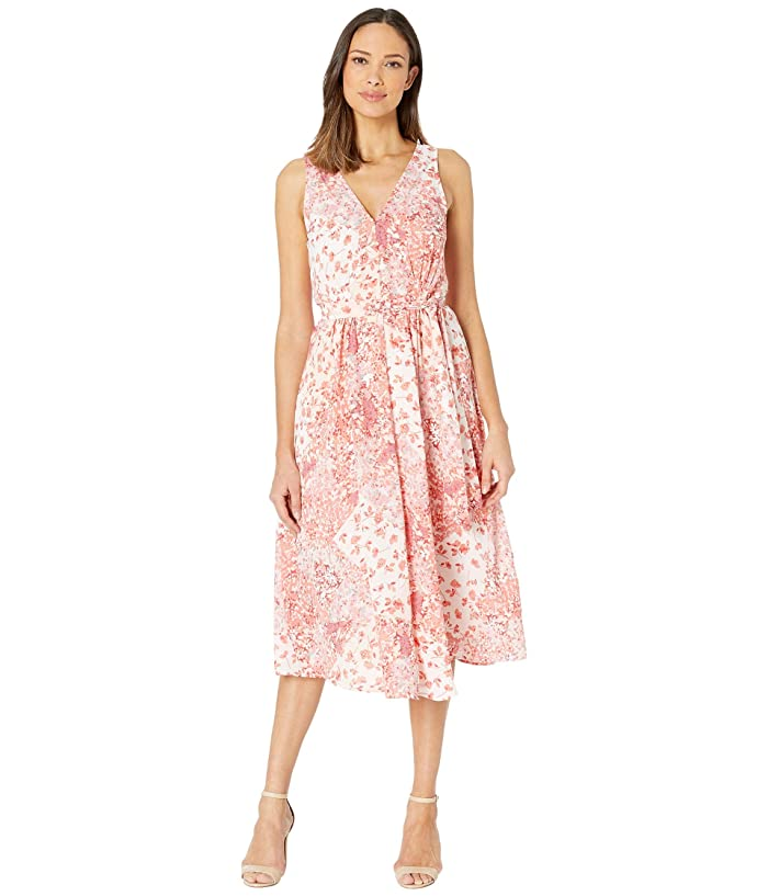 B Collection by Bobeau Riley V-Neck Pleated Maxi Dress (Fusion Scarf Print) Women