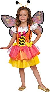 Child's Glittery Orange Butterfly Costume, Large