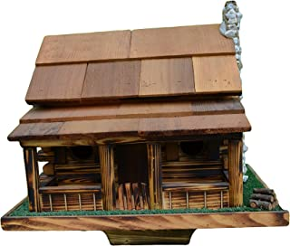 Birdhouse - Log Cabin Bird House w/ Rock Chimney. To Clean: Back of Roof Lifts up and Out. Mounting: Includes 4x4 Post Bracket. Color - Burnt Pine with Natural Stain with Cedar Roof. Amish Country Rustic Handmade Log Cabin Bird House with Rock Chimney, Houses Two Families of Birds. Base 20