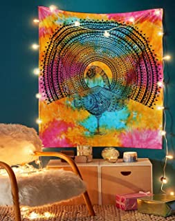 Dancing Peacock Tapestry - Colorful Indian Tie Dye Cotton Mandala Wall Hanging Hippie Boho Decor - Multicolor - 50x60 Inches
