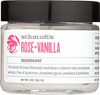 Schmidt's Natural Deodorant - Rose and Vanilla, 2 ounces. Jar for Women and Men