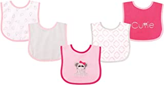 Luvable Friends Unisex Baby Cotton Terry Drooler Bibs with PEVA Back, Elephant, One Size