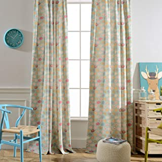 Melodieux Floral/Geometric/Cartoon Room Darkening Grommet Curtains for Living Room 52x63 Inch Blue QHJX-G2-BB-A
