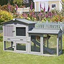 GUTINNEEN Rabbit Hutch Bunny Cage Outdoor Indoor-Infinitely Extension Design, Expandable Bunny Hutch Rabbit House with Run...