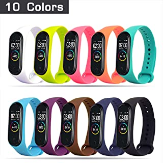 HITO Xiaomi Mi Band 3/4 Strap Replacement, Soft Silicone Strap Wristband WatchBand Accessories for Xiaomi Mi Band 3/4 (Waterproof, Wearable, Breathable) (10pcs)