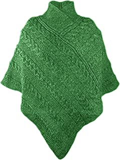 100% Irish Merino Ladies Aran Knit Poncho (MediumLarge, Green)