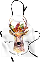 Ambesonne Indie Apron, Deer Portrait in Watercolor Painting Style Boho Flower Bouquet Hipster Rustic Artwork, Unisex Kitchen Bib with Adjustable Neck for Cooking Gardening, Adult Size, White Orange