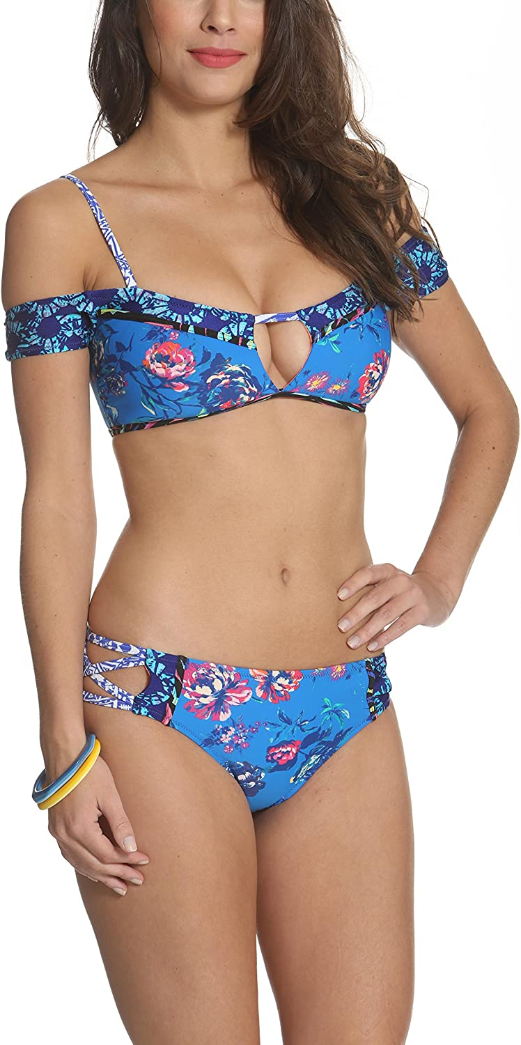 Kuleana Malama Off Shoulder Bikini Top and Cross Strap Bikini Brief Animal Flower