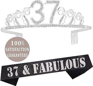 37th Birthday Tiara and Sash silver, 37th Birthday Gifts for woman, HAPPY 37th Birthday Party Supplies, 37 & Fabulous Glitter Satin Sash and Crystal Tiara Birthday Crown for 37th Birthday Party Suppli
