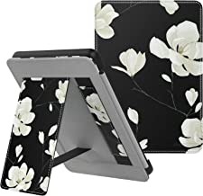 MoKo Case Fits All-New Kindle (10th Generation - 2019 Release), Slim PU Leather Stand Smart Cover Shell with Hand Strap, Will Not Fit Kindle Paperwhite 10th Generation 2018 - Black & White Magnolia