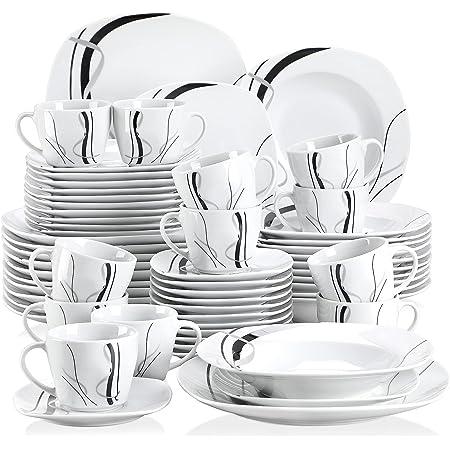 VEWEET Fiona 60pcs Service de Table Porcelaine 12pcs Assiette Plate, Assiette à Dessert, Assiette Creuse, Tasse avec Soucoupes pour 12 Personnes Vaisselles Céramique