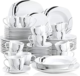 VEWEET Fiona 60pcs Service de Table Porcelaine 12pcs Assiette Plate, Assiette à Dessert, Assiette Creuse, Tasse avec Souco...