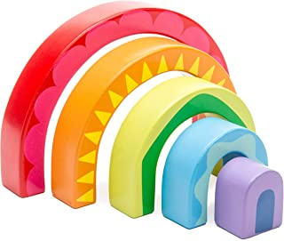 Le Toy Van - Educational Rainbow Wooden Montessori Stacking Tunnel Toy | Baby Educational Wood Toy | Learning Activity Toy...