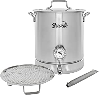 BREWSIE Stainless Steel Home Brew Kettle w/Dual Filtration. Equip with False Bottom Thermometer and Ball Valve for Brewing...