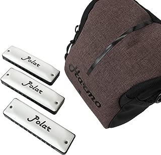 Harmo Polar Harmonica Set of 3 Harmonicas Key of C G A with Gig Bag 7 and Mini Harmonica
