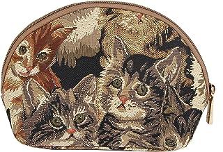 Cat Print Tapestry Makeup Bag Travel Cosmetic Bag Brush Bag for Women Girls by Signare (COSM -CAT)
