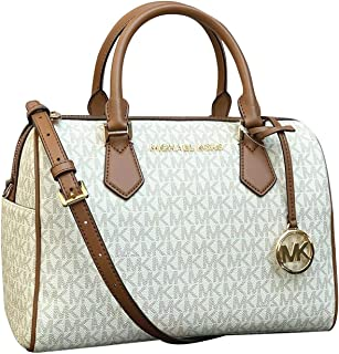 Michael Kors Bedford Duffle Large Satchel Handbag Purse Vanilla Signature Leather Cross Body Bag