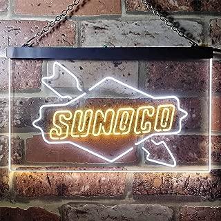 zusme Sunoco Motor Novelty LED Neon Sign White + Yellow W24 x H16