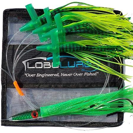 "Lobo Lures Green Machine Tuna Smacker MEDIUM 9/"" Rigged Fishing Trolling Lure"