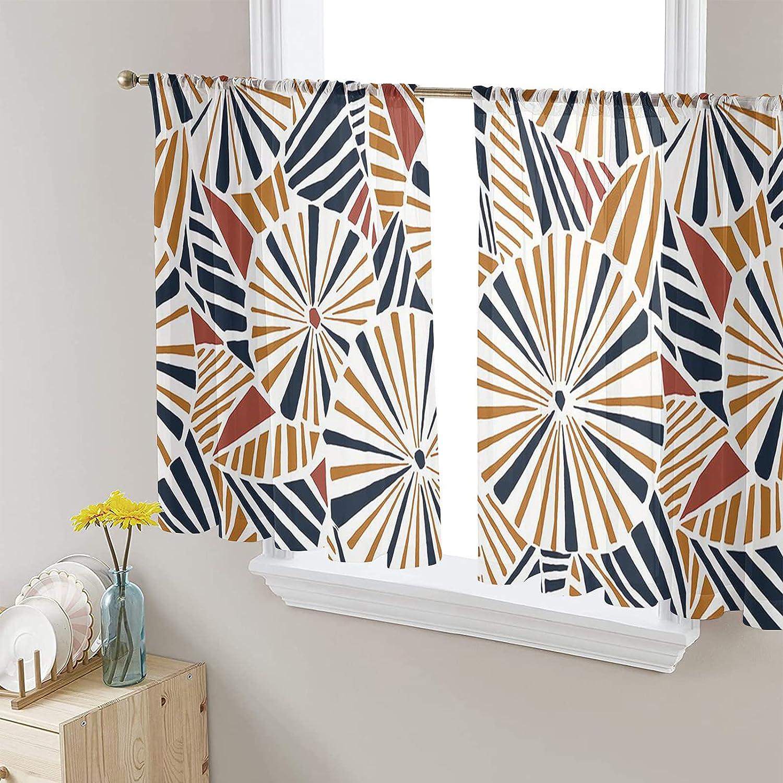 Semi Sheer Voile Window Curtains 2 Long Inches Cheap Panels 52x54 Ele Ultra-Cheap Deals