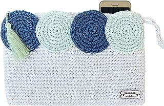 white blue crochet knitted bag