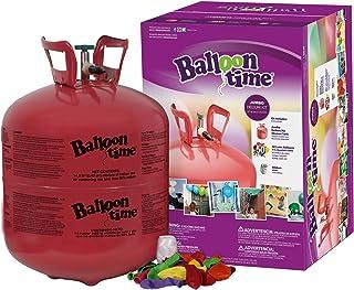 بالون تايم - مجموعة كاملة مع تانك هيليوم ضخم، 50 بالون لاتكس وشريط أبيض