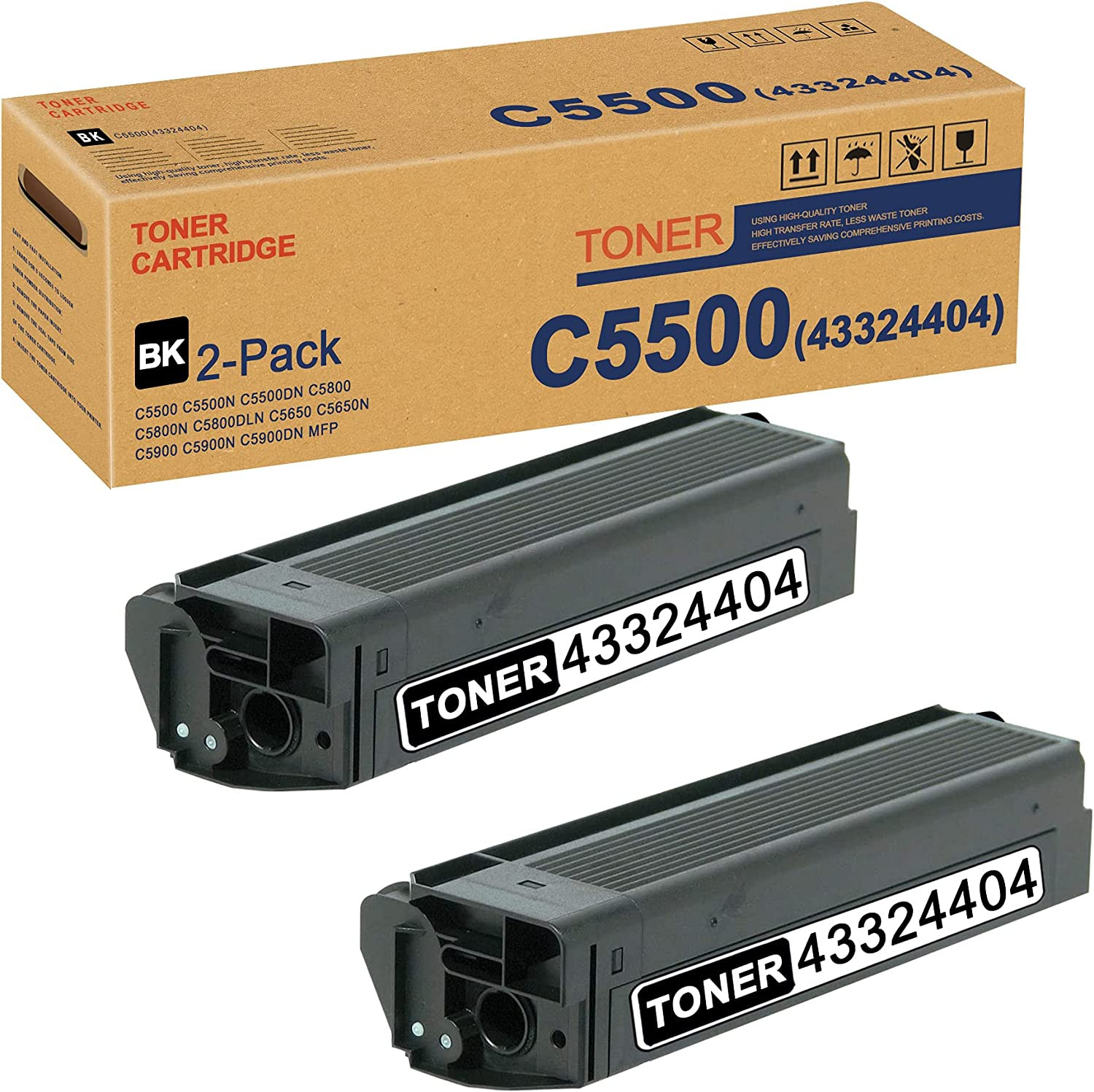 C5500 43324404 Toner Cartridge Black Max 69% OFF OK Pack 2 Replacement for Outstanding