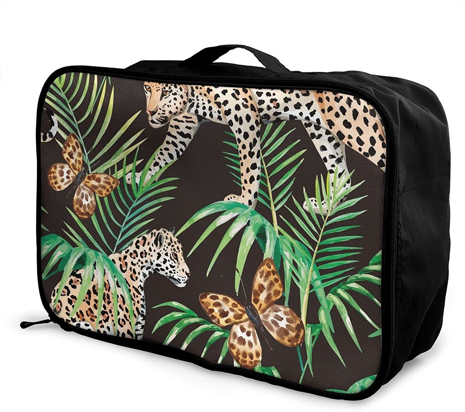 Foldable Travel Bag Tote Gold Panther Black Car Lowest price challenge Regular store Jungle Butterfly
