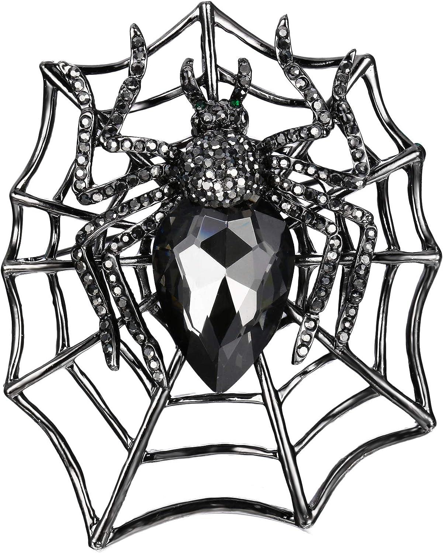 EVER FAITH Rhinestone Max 66% OFF Philadelphia Mall Crystals Halloween Spider Web Teardrop Bro