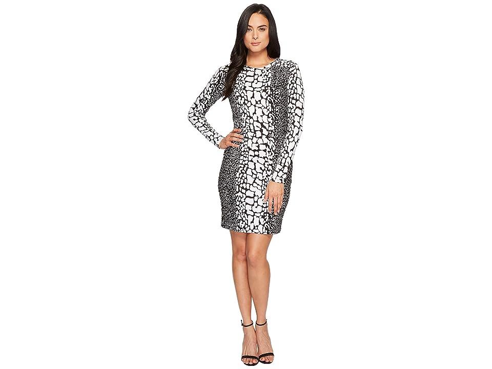 MICHAEL Michael Kors Croc Ponte Raglan Dress (Black/White) Women