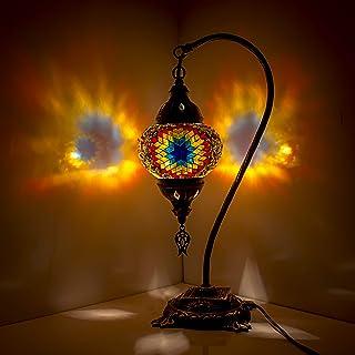 Impresionante lámpara de mesa de cristal turco marroquí hecho a mano con base de bronce multicolor
