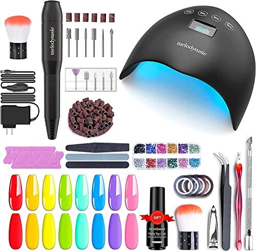 popular MelodySusie Electric Nail Drill Machine 11 in popular 1 Kit sale with Gel Nail Polish Kit and nail dryer sale