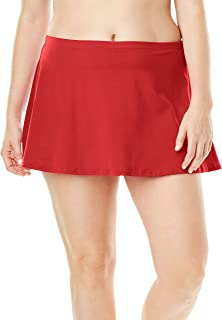Women's Plus Size A-Line Swim Skirt with Built-in Brief