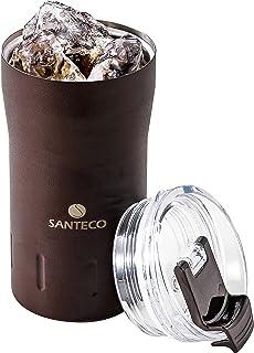 シービージャパン タンブラー ふた付き 真空断熱 マッド ブラウン 310ml ロック式飲み口 KARIBAタンブラー SANTECO