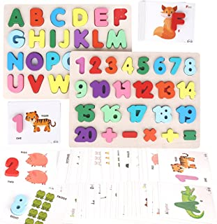 Alphabet Number Puzzles & Flash Cards – Preschool Educational Learning Montessori Toys for Toddlers and Kids – ABC Letter,...