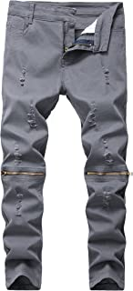 Boy's Slim Fit Skinny Ripped Distressed Zipper Jeans Pants with Holes