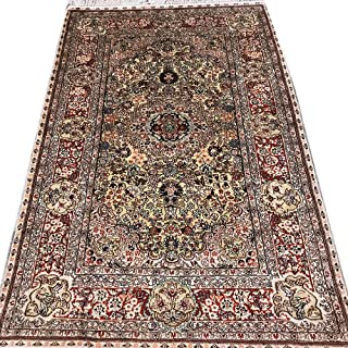 Yilong Handmade Antique Turkish Golden Silk Rug Traditional Hand Knotted Hereke Carpet(4-Feet-by-6-Feet) Y343C4x6