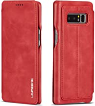 QLTYPRI Case for Samsung Galaxy Note 8, Vintage Slim Magnetic Closure PU Leather Case with Stand Function & Credit Card Slot Holder Shockproof Flip Wallet Cover for Samsung Galaxy Note 8 - Red