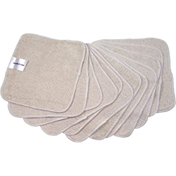 MuslinZ 12PK Wipes Bamboo Cotton Terry Wipes 20x20 cms Face Cloth Washable reuseable Baby Wipes (Off White)