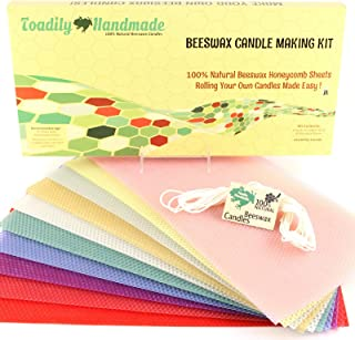 Make Your Own Beeswax Candle Kit - Includes 10 Assorted Colored 100% Beeswax Honeycomb Sheets and Approx. 6 Yards (18 Feet) of Cotton Wick - Each Sheet Measures Approx. 8