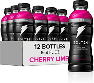 Bolt24 Energize, Fueled by Gatorade, Cherry Lime, Hydration with Caffeine and Electrolytes, 16.9 ounces (Pack of 12)