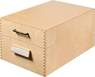 HAN 1005 Wooden Index Card Box for Maximum 1500 Cards A5 Landscape Format 255 x 190 x 380 mm