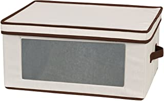 Household Essentials 540 Vision Storage Box with Lid and Handles for White Wine Glasses - Natural Beige Canvas with Brown ...