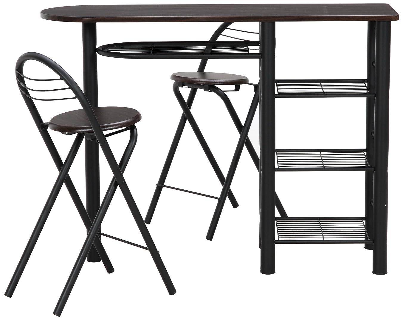 怪しい残りスイング不二貿易 カウンター テーブル チェア 3点セット ブラウン×ブラック 95247