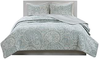 Comfort Spaces Kashmir Hypoallergenic All Season Lightweight Filling Paisley Print Girls 3 Piece Quilt Coverlet Bedspread Bedding Set, Full/Queen, Blue Grey
